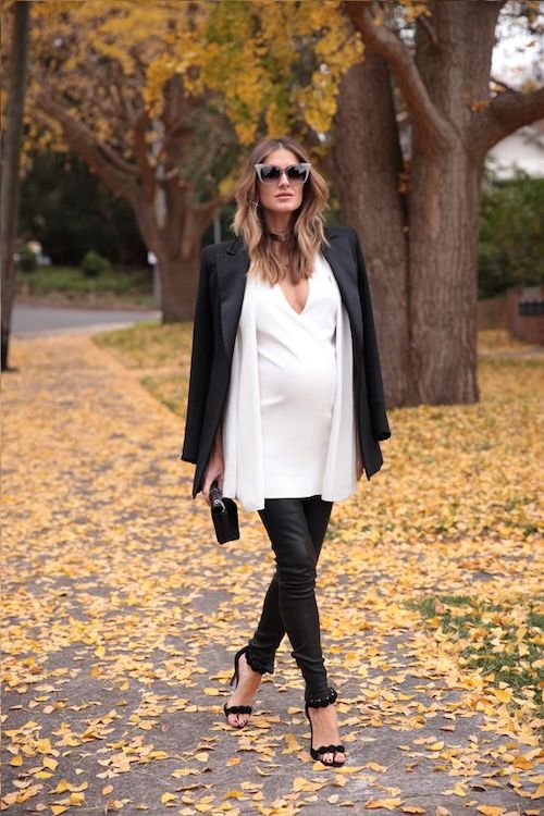 Leather pants maternity outfit ideas